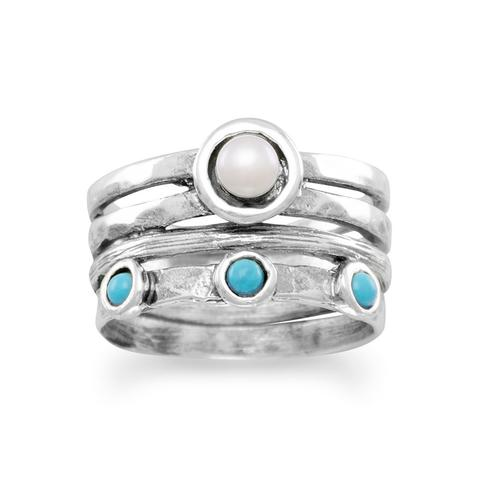 R005085 - Sterling Silver, Turquoise and Freshwater Pearl Ring