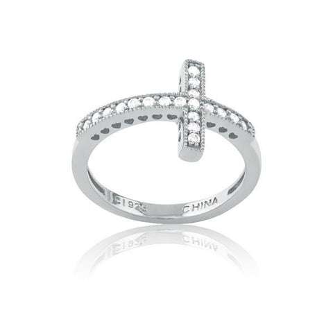 R028006* - Cubic Zirconia and Sterling Silver Cross Ring