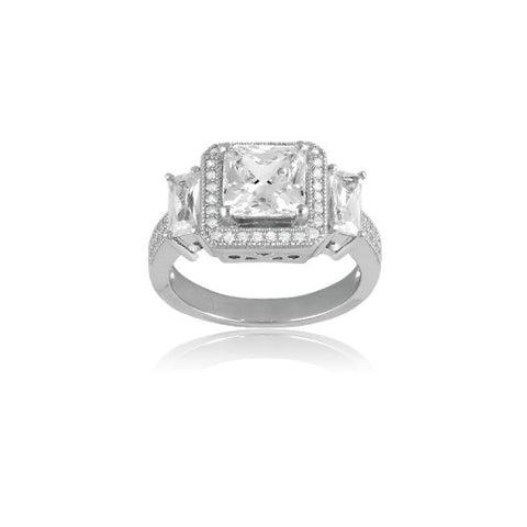 R028011* - Square Cubic Zirconia & Sterling Silver Ring