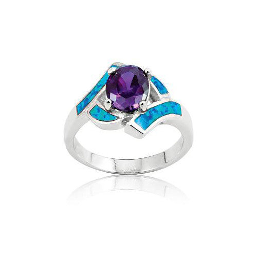 R028018* - Oval Amethyst Cubic Zirconia and Twisted Opal Ring