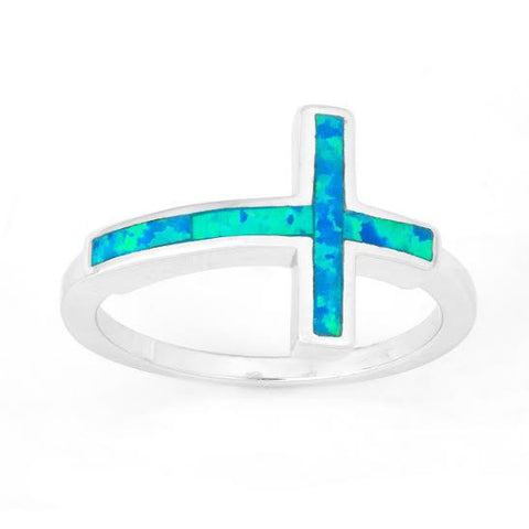 R028022* - Sterling Silver and Inlay Blue Opal Cross Ring