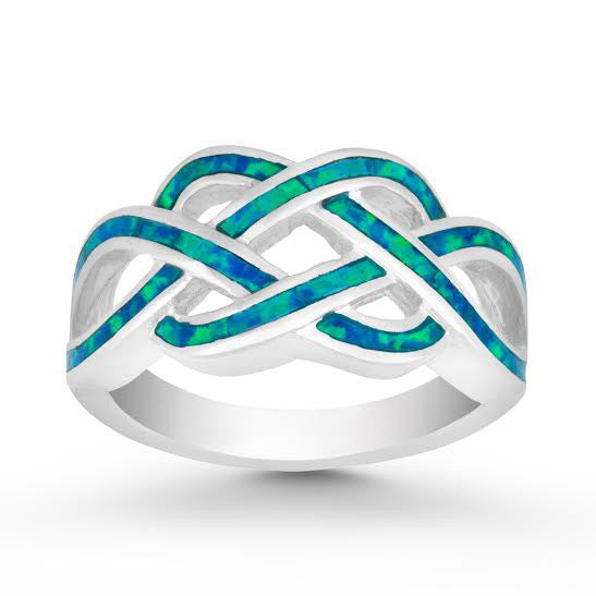 R028023 - Sterling Silver and Inlay Blue Opal Open Braid Design Ring