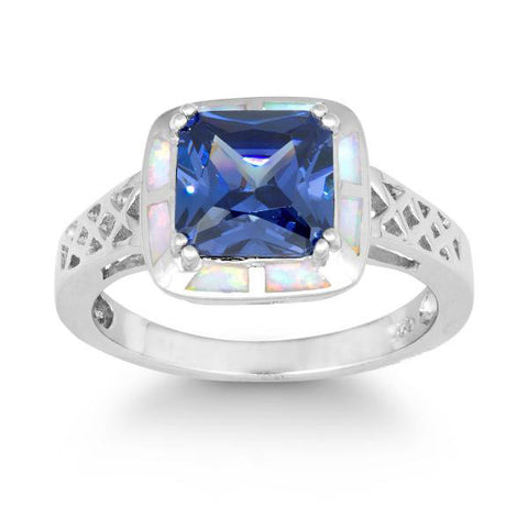 R028024* - White Opal and Tanzanite Cubic Zirconia Celtic Style Ring