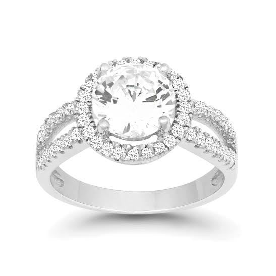 R028031 - Round Cubic Zirconia Halo Style Ring