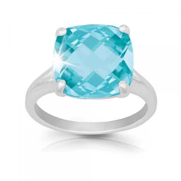 R028033* - Sterling Silver and Large Blue Topaz Ring