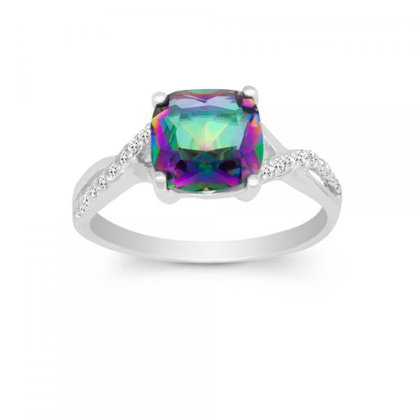 R028034* - Mystic Cubic Zirconia and Sterling Silver Ring