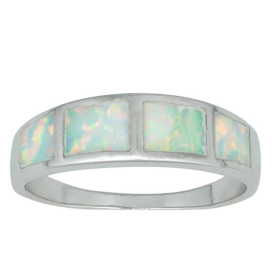 R028035* - Sterling Silver and White Opal Band