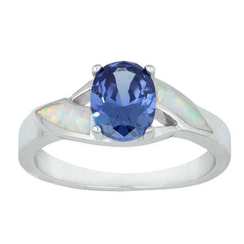 R028036 - Inlay White Opal and Tanzanite Cubic Zirconia Ring