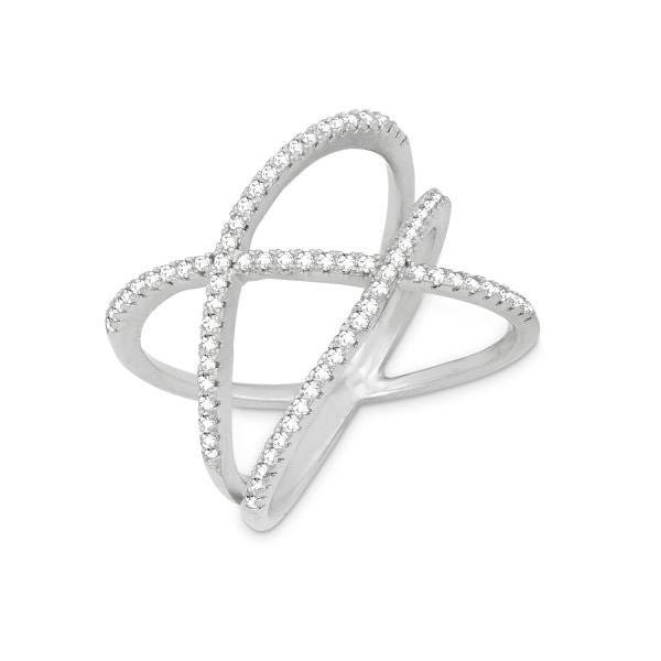 R028039 - Sterling Silver and Cubic Zirconia Double Off Center Criss Cross Ring