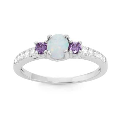 R028041 - Oval White Opal Ring with Amethyst and CZ Accents