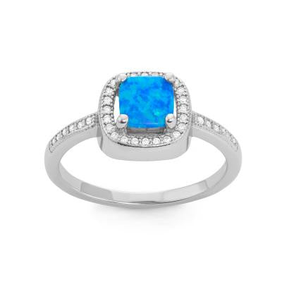 R028042 - Square Blue Opal Inlay, CZ and Sterling Silver Ring