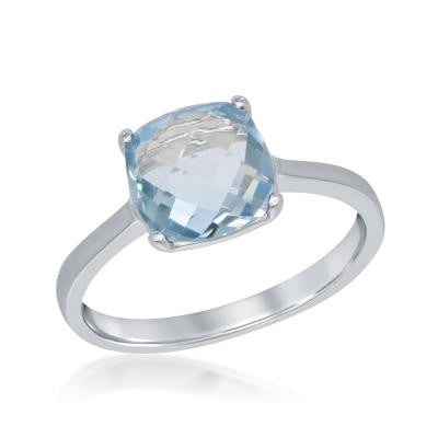 R028045 - Sterling Silver and Square Blue Topaz Ring