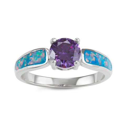 R028046 - Sterling Silver, Blue Green Fire Inlay Opal and Amethyst Cubic Zirconia Ring