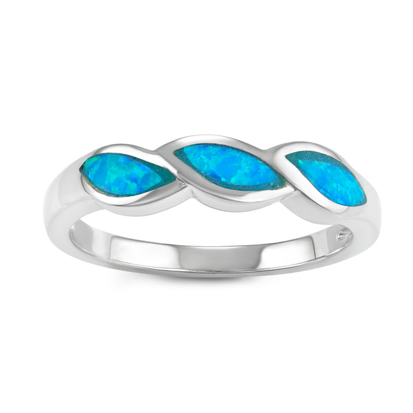 R028047 - Sterling Silver and Blue Inlay Opal Wavy Twist Ring
