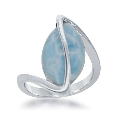 R028048 - Sterling Silver and Oval Larimar Ring