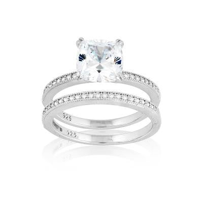 R028049 - Sterling Silver Double Band Engagement Style Ring