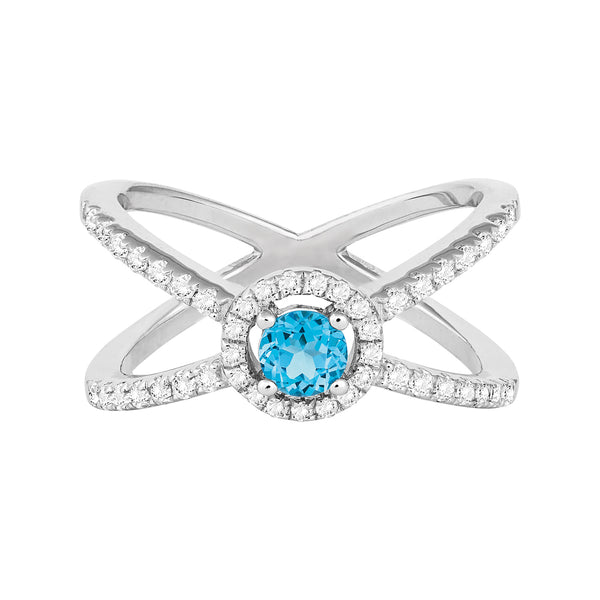 R028052* - Sterling Silver, Swiss Blue Topaz and White Topaz Ring