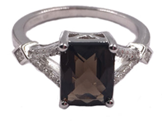 R028055 - Sterling Silver, Smoky Quartz and White Topaz Ring