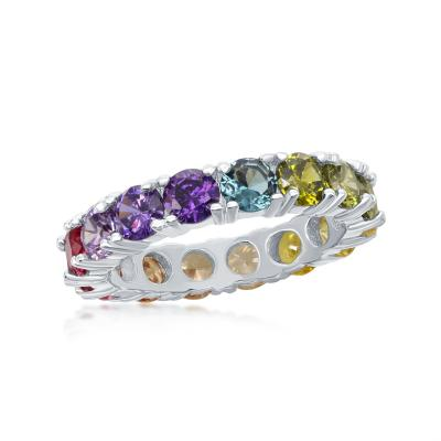 R028060* - Sterling Silver and Rainbow CZ Ring