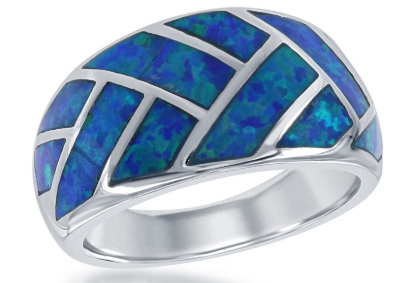 R028062 - Sterling Silver Blue Inlay Opal Ring