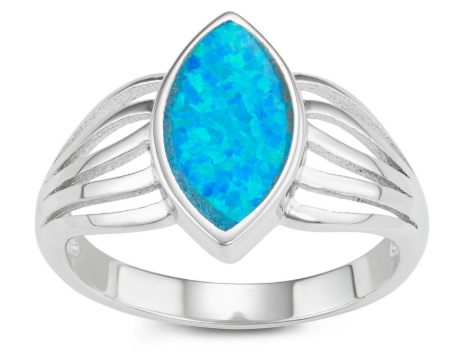 R028065 - Sterling Silver Marquise Blue Inlay Opal Ring