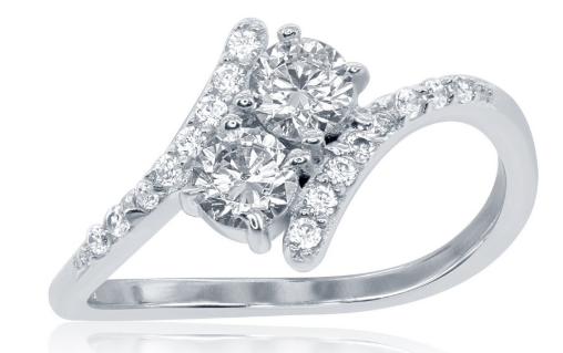 "R028066 - Sterling Silver ""Us2gether"" CZ with Thin CZ Side Ring"