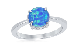 R028068 - Sterling Silver Four-Prong Round Blue Inlay Opal Ring