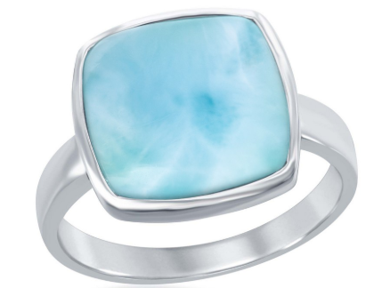 R028069 - Sterling Silver Larimar Square Ring