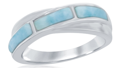 R028070 - Sterling Silver Larimar Band Ring