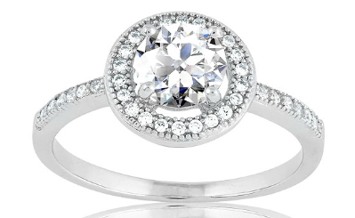 R028073 - Sterling Silver Center Circle CZ and Micro Pave Ring