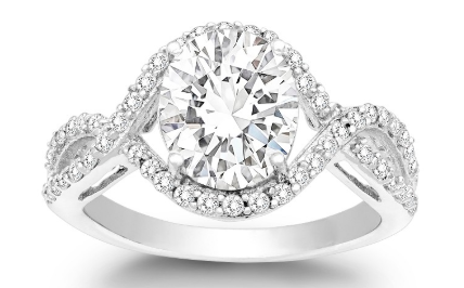 R028074 - Sterling Silver Large CZ Engagement Ring
