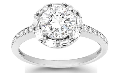 R028075 - Sterling Silver Halo CZ Engagement Ring