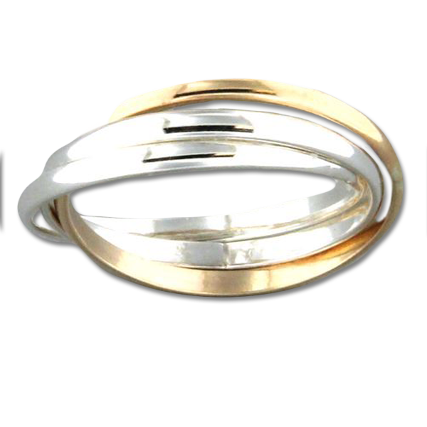 R064001 - Sterling Silver and Gold-Filled Roll Ring