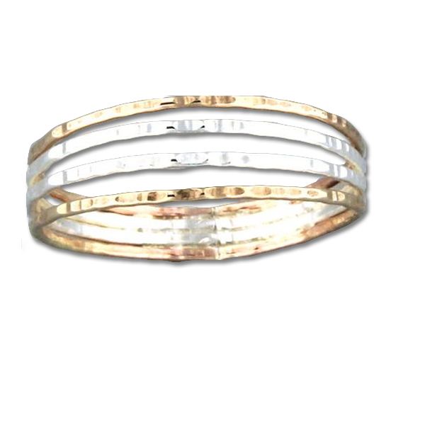 R064003 - Textured Sterling Silver and Gold-Filled 4 Wire Ring
