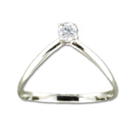R064016 - Sterling Silver V Shaped Ring with CZ