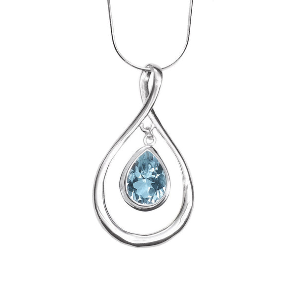 N005234 - Sterling Silver and Blue Topaz Teardrop Necklace