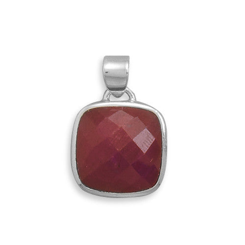 S005099* - Sterling Silver and Faceted Rough Cut Ruby Slide