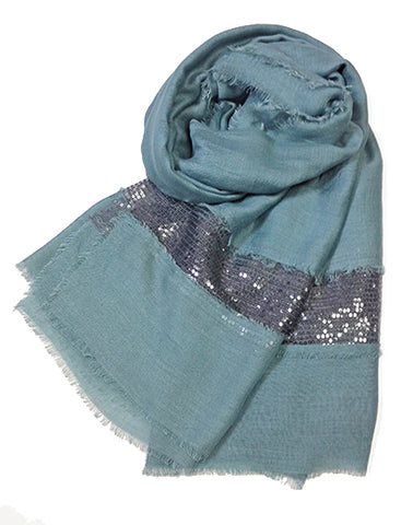 SC071001 - Smoky Blue and Silver Sequin Scarf