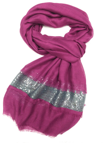 SC071002 - Magenta and Silver Sequin Scarf