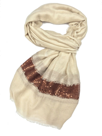 SC071003 - Beige and Copper Sequin Scarf