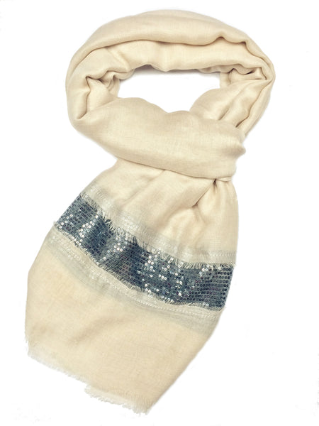 SC071004 - Beige and Silver Sequin Scarf