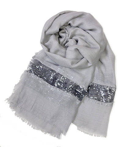 SC071005 - Grey and Silver Sequin Scarf
