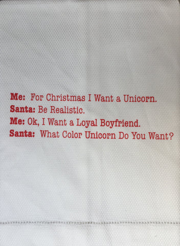 T067005 - For Christmas I Want a Unicorn... Tea Towel