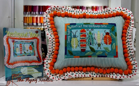 """Sleep Tight, Don't Let the Bed Bugs Bite"" Finishing from Barbara's Needlepoint."