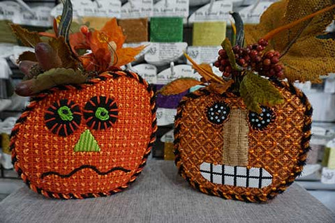 Melissa Shirley pumpkins with stitch guides to stitch