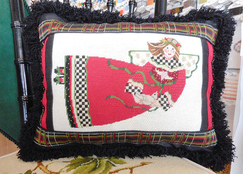 Angel pillow finished needlepoint