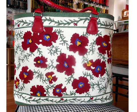 red flower finished canvas handbag