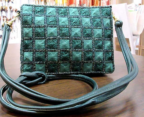 green handbag finished canvas