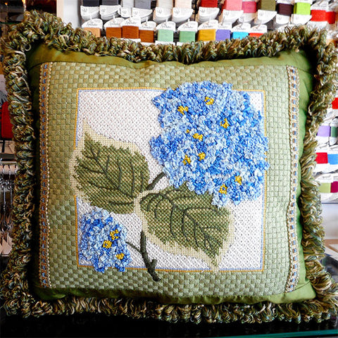 Needlepoint finished pillow hydrangas