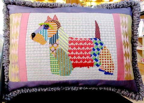 finished canvas scottie dog pillow